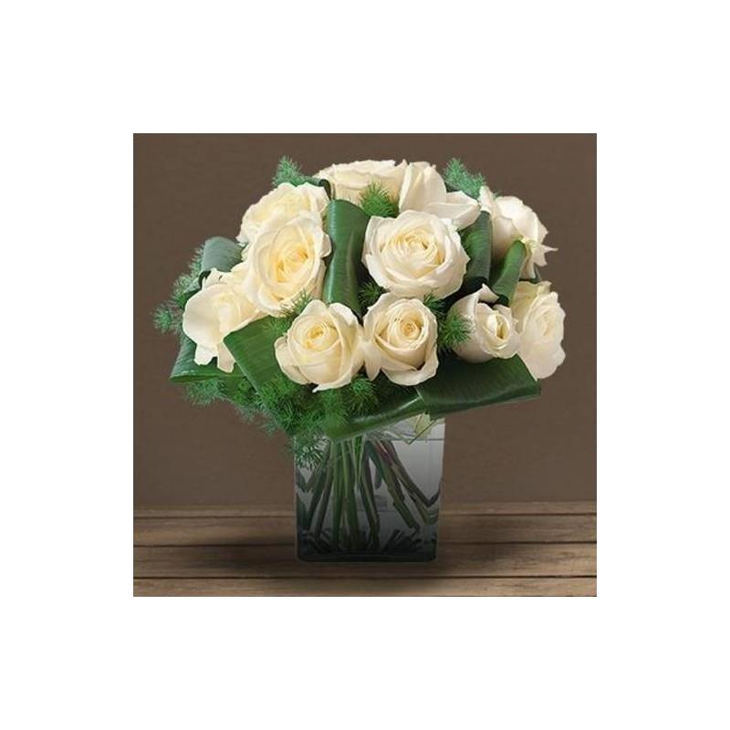 Bouquet deuil de roses blanches olympie for Envoi bouquet