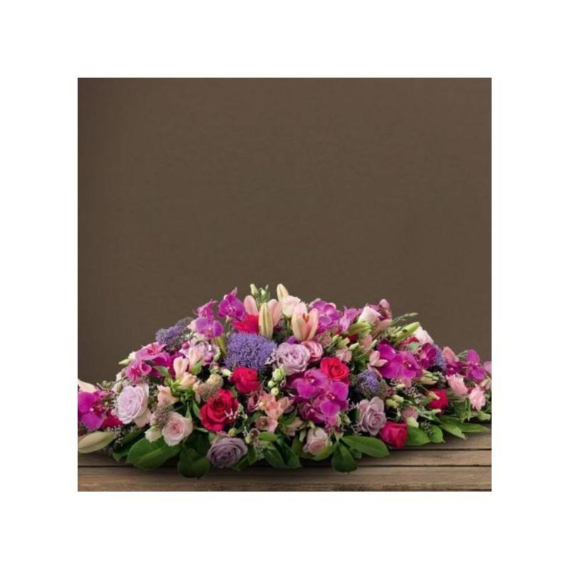 Raquette deuil avec orchid es plenitude for Envoi fleurs deuil