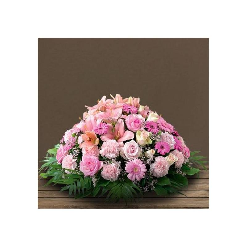 Coussin rose deuil pure for Envoi fleurs deuil