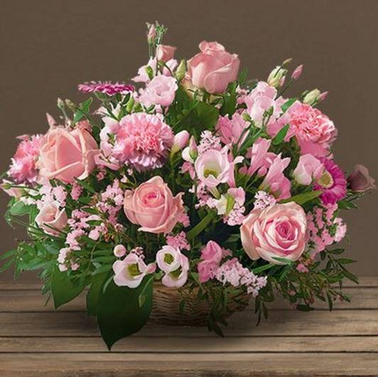 Panier Ceremonie Deuil Rose Dom Com Interflora